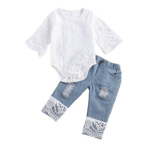 Baby Girls Autumn Clothes Set Long Sleeve Crotch Round Neck Lace Romper top Long Jeans Fashion Baby Clothing Outfits