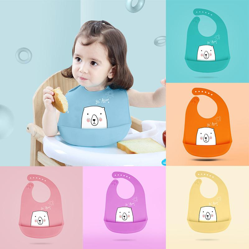Kidlove Infant Baby Large Waterproof Silicone Feeding Bibs