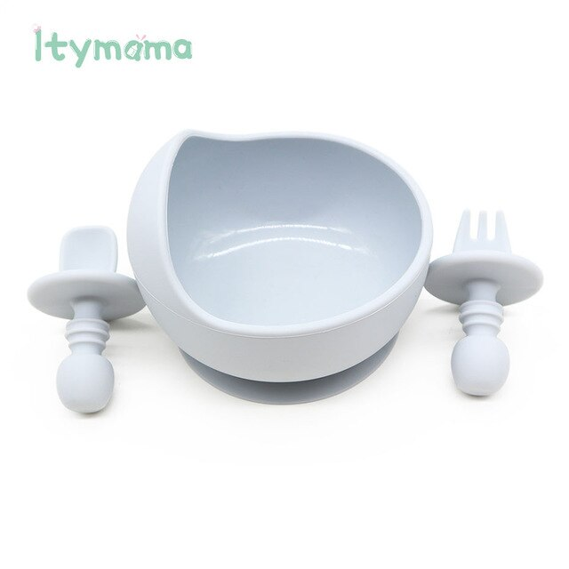 Silicone Fork Spoon Set Baby Dishes Set Feeding Food Soft Children's Dishes Tableware For Dinner BPA Free Baby Training Spoon