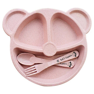 Baby bowl+spoon + fork Feeding Food Tableware Cartoon Panda Kids Dishes Baby Eating Dinnerware Set Anti-hot Training Bowl Spoon