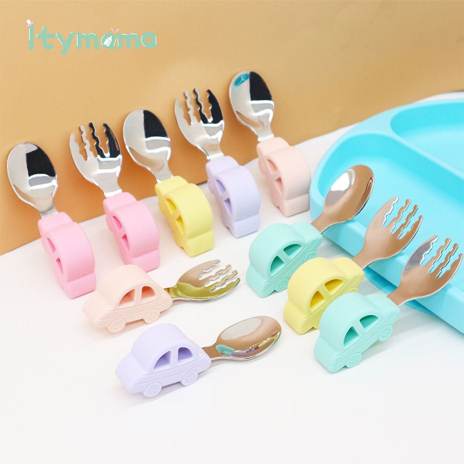 Baby Tableware Spoon Fork For Children Feeding 2pc/set Stainless Steel Dinnerware Cartoon Infant Food Baby Training Spoon Set
