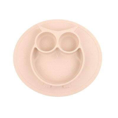 Baby Bowl Safe Silicone Food Grade Silicone Feeding Bowls Kids Bowl Cartoon Owl Suction Non Slip Divided Tableware Plate