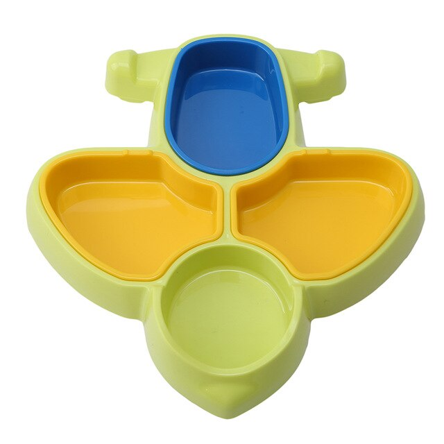 Baby Feeding Tableware Toddle Cartoon Airplane Shape Dishes Kids Plate Dinner Bowl Spoon Eco-friendly Baby Training Dinnerware