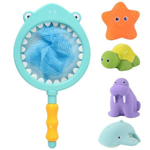 Baby Bath Toys Set with 4PCS Soft Cute Ocean Animals Bath Squirter and 1PCS Fishing Net Water Toys Bathtub Toys for Kids