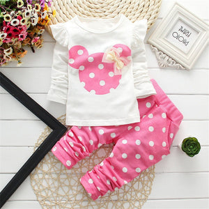 2016 New kids clothes girl long rabbit sleeve cotton Minnie casual suits baby clothing retail children suits Free shipping