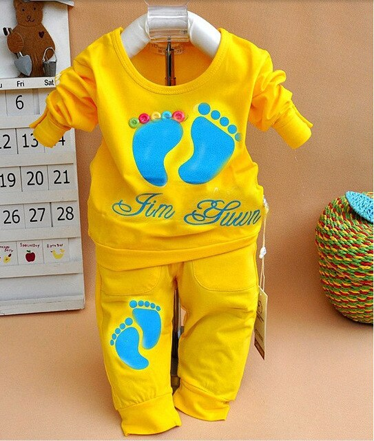 Foot Baby Boys Clothes Sets Toddler T-Shirts + Pant Suit Newborn clothing Tops Trouser 100% Cotton bebe jumpsuits