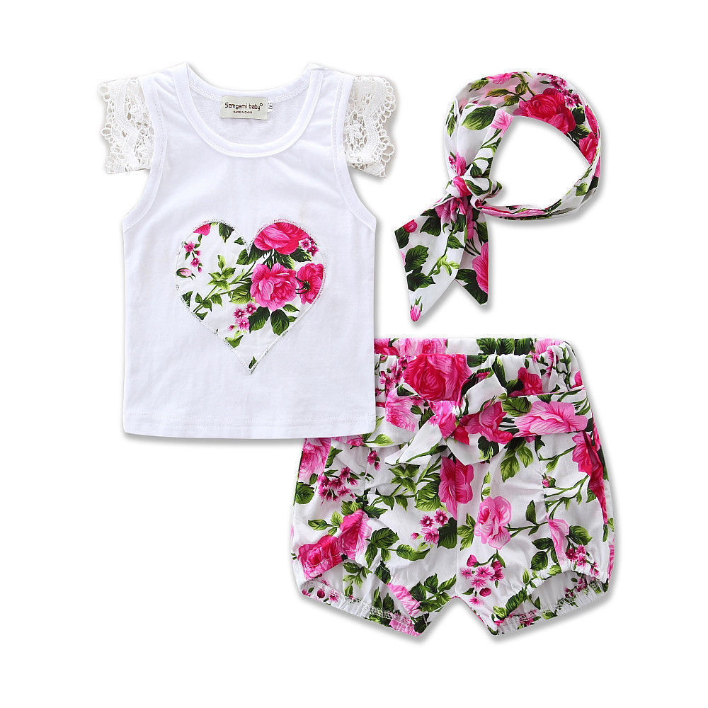 T-shirt Top Sleeveless Cotton Floral Shorts Outfit Clothing Set Girl 2PCS Toddler Kids Baby Girls Clothes Set Outfit