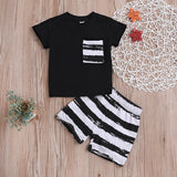 2019 Hot Summer Kids Boy Tshirt+Short 2pcs Set Casual Suit Toddler Kid Children Pocket Decor+Striped Print Clothing Costume 0-2T