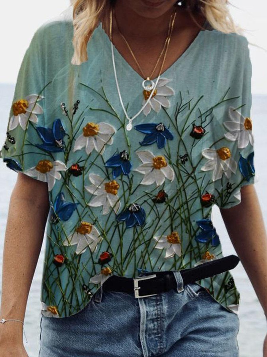 Flower 3D Oil Painting Print T-shirt