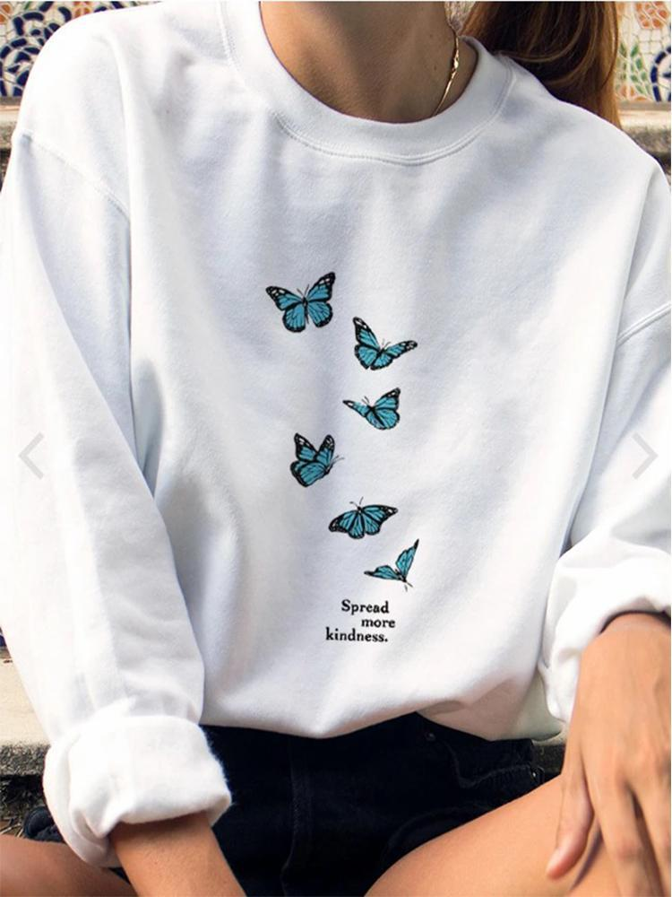 Spread More Kindness Letter Butterfly Print Sweatshirt