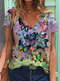 Flower Butterfly Painting Print T-shirt