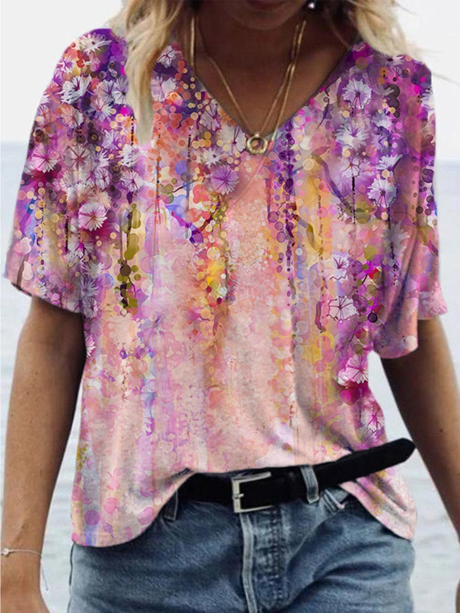 Colorful Flower Print T-shirt