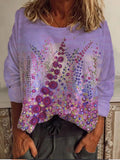 Flower Painting Print Sweatshirt