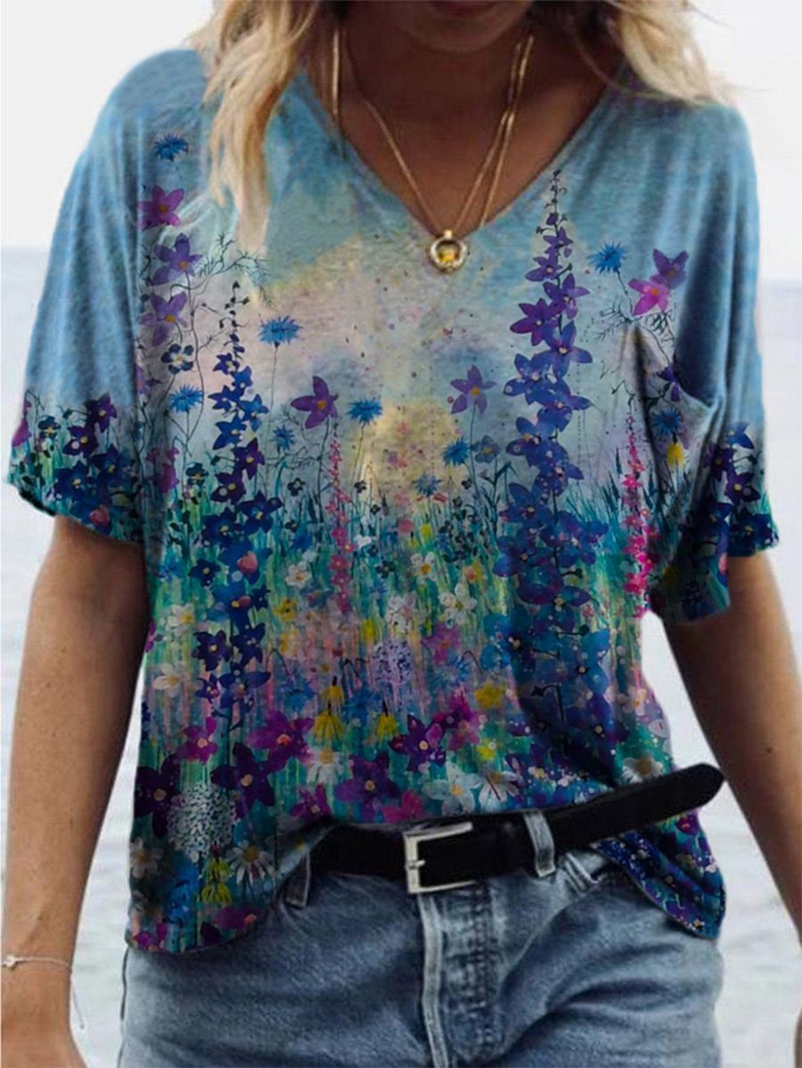 Flower Painting Print T-shirt