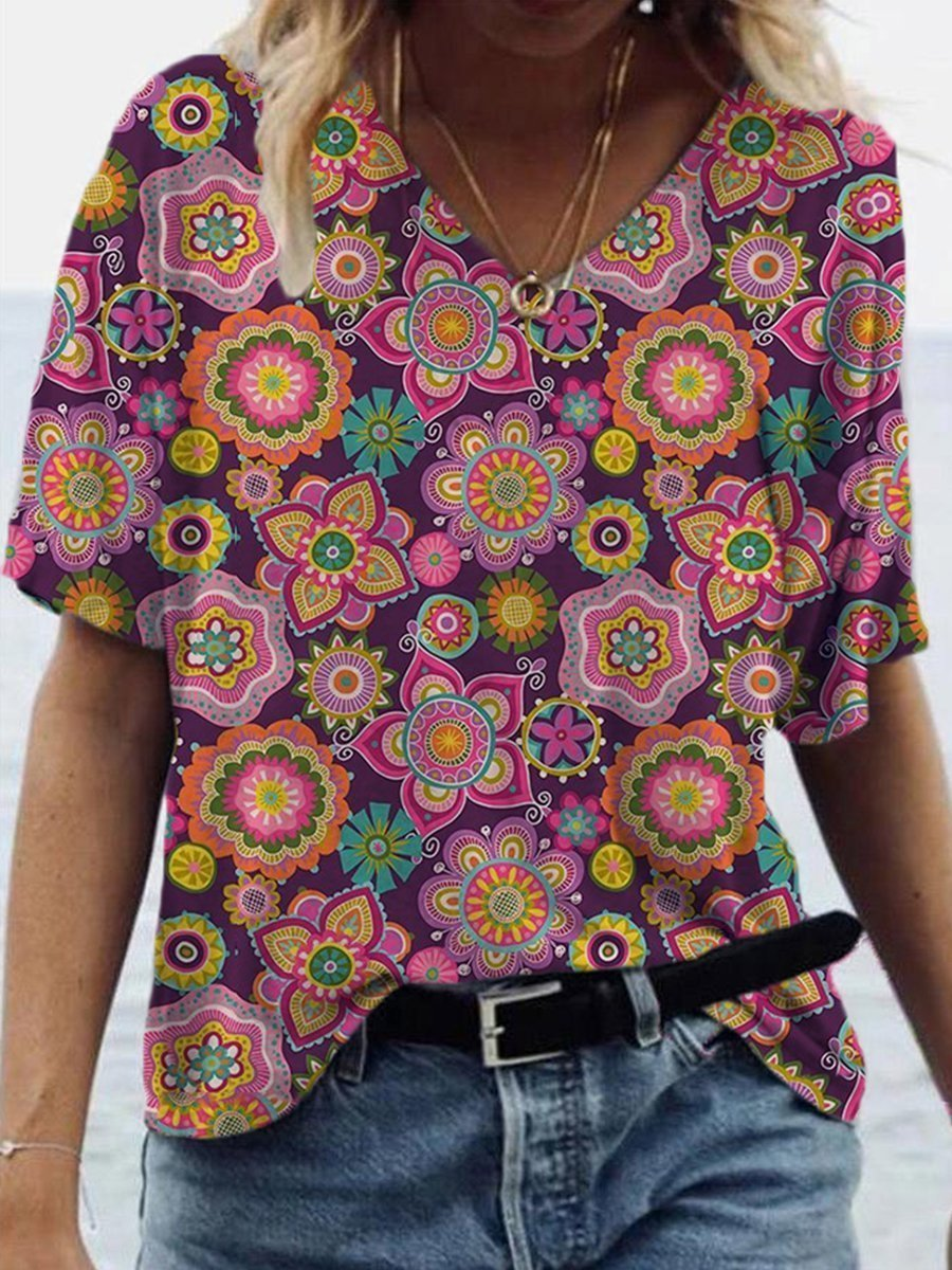Folk Tile Flower Print T-shirt