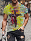 Men's Faith Cross Oil Painting Print T-shirt