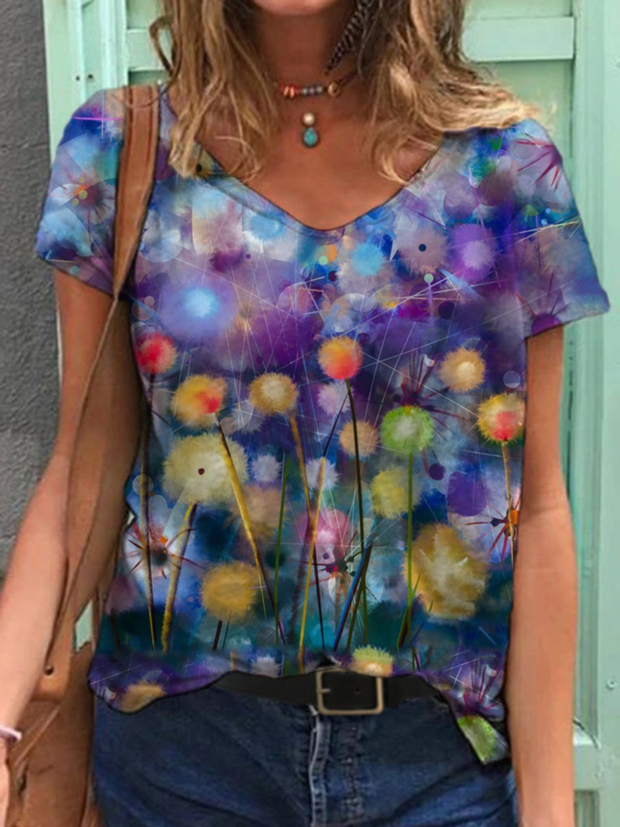 Watercolor Flower Print T-shirt