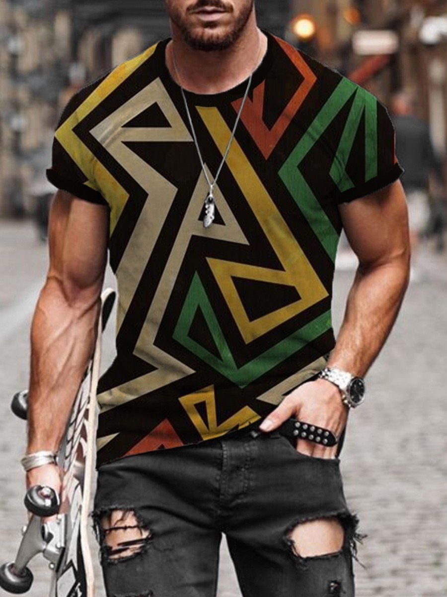 Men's Abstract Lines Print T-shirt