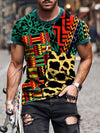 Men's Patchwork Leopard Geometry Pattern Print T-shirt