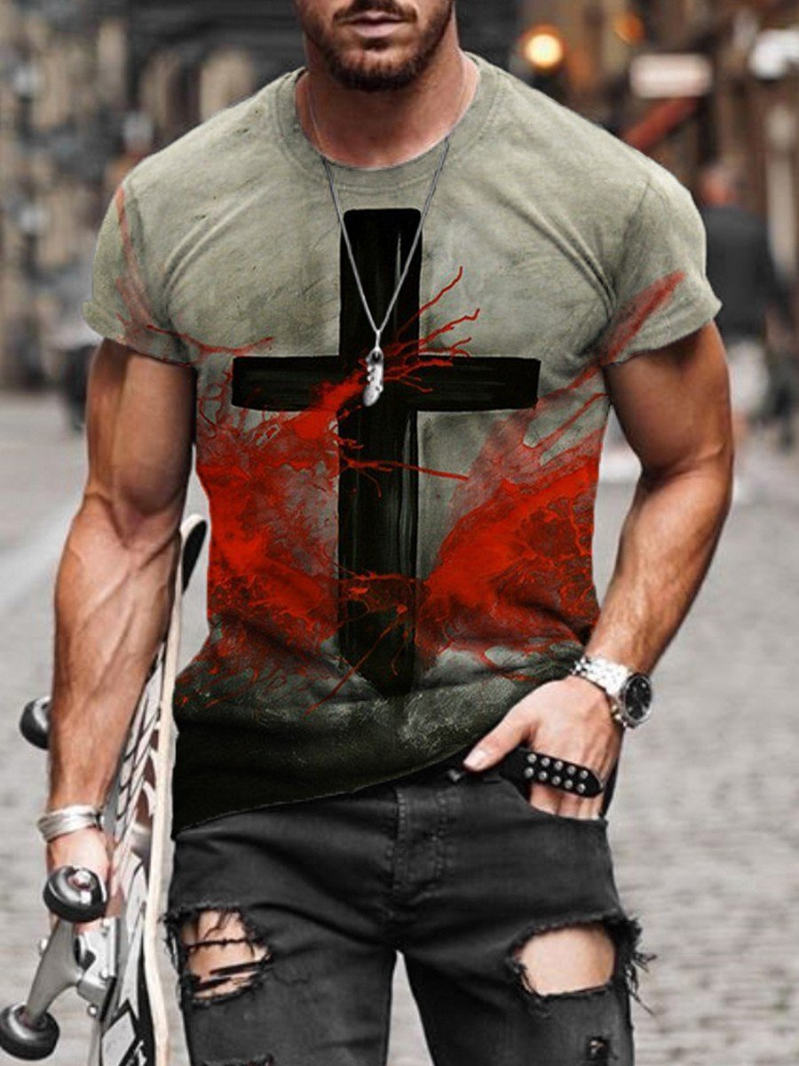 Men's Faith Cross Print T-shirt