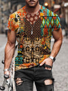 Men's Pattern Patchwork Print T-shirt