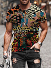 Men's Animal Pattern Patchwork Print T-shirt