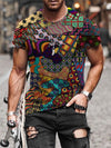 Men's Geometry Pattern Patchwork Print T-shirt