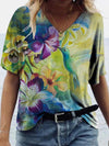 Flower Bird Painting Print T-shirt