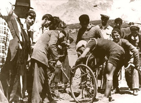 Tour De France Changing Tire 1936