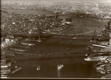 Above Brooklyn/Manhattan/Williamsburg Bridges 1932