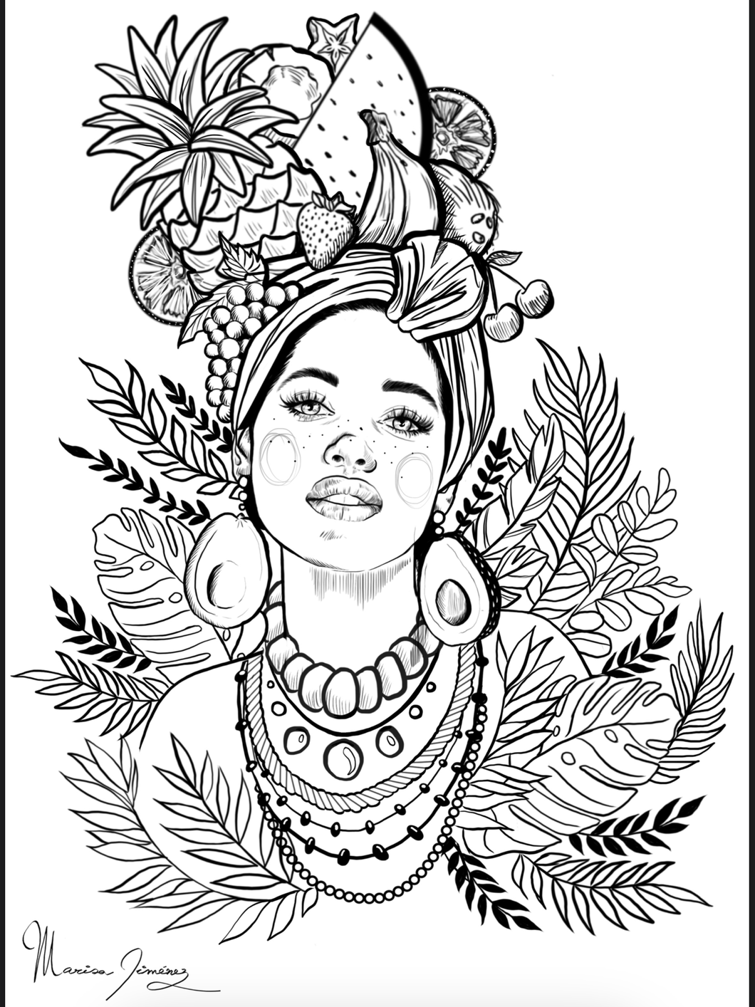 Latin Lady Colouring Print