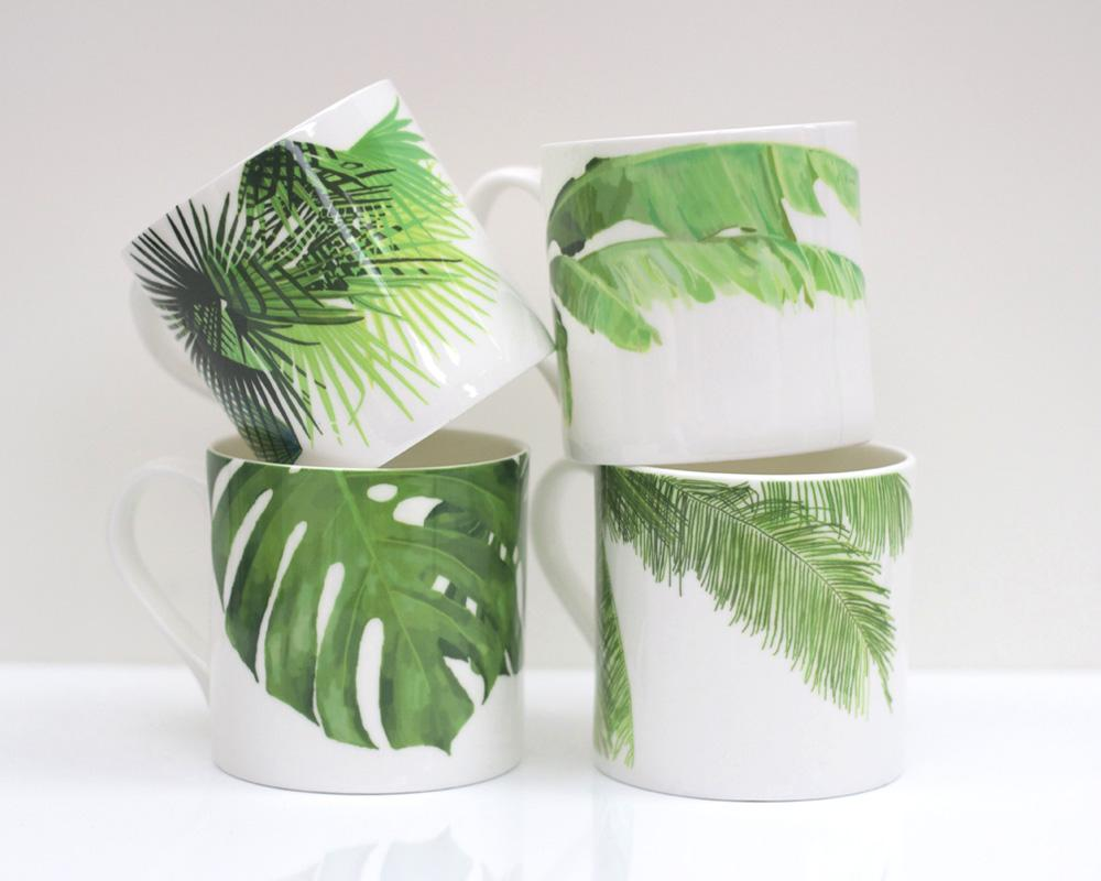 Set of Tropical Leaf Mugs