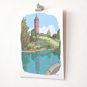 A4 print - Cabot Tower by dona B drawings