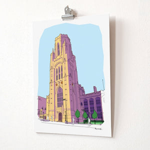 A4 print - Wills Building by dona B drawings
