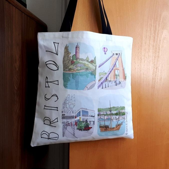 Tote Bag - Bristol Sketches Scatter by dona B drawings