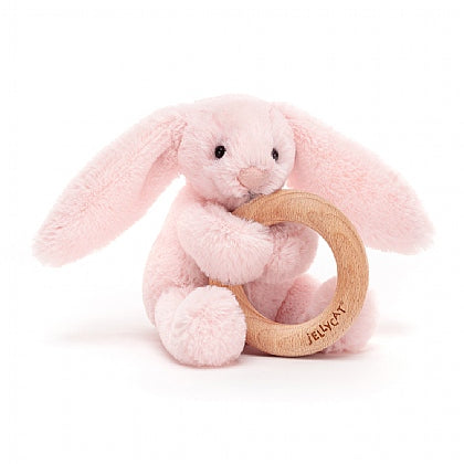 Jellycat Bashful Pink Bunny Wooden Ring