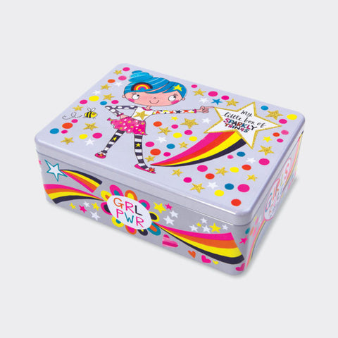 Flittered Rectangular Tin ‐ Box of Sparkly Things/Girls Rule