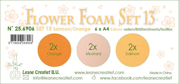 Flower Foam Set 13, 6 Sheets A4 3X2 Salmon-Orange Colours