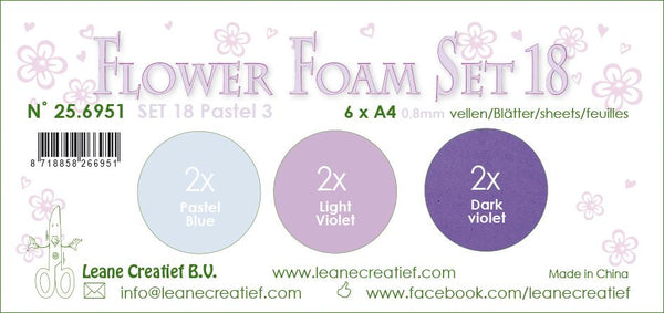 Flower Foam Set 18, 6 Sheets A4 3X2 Pastel Colours 3.