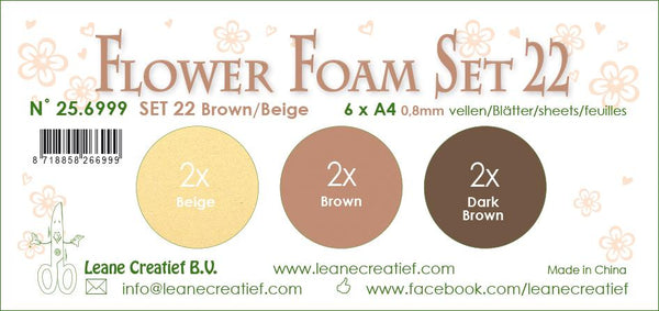 Flower Foam Set 22, 6 Sheets A4 3X2 Brown-Beige Colours