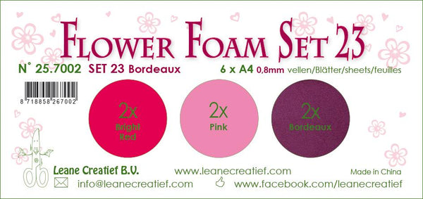 Flower Foam Set 23, 6 Sheets A4 3X2 Bordeaux Colours