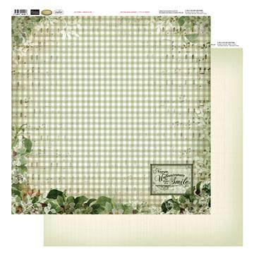 12x12 Patterned Paper  - Green Plaid - Vintage Rose Collection (5)