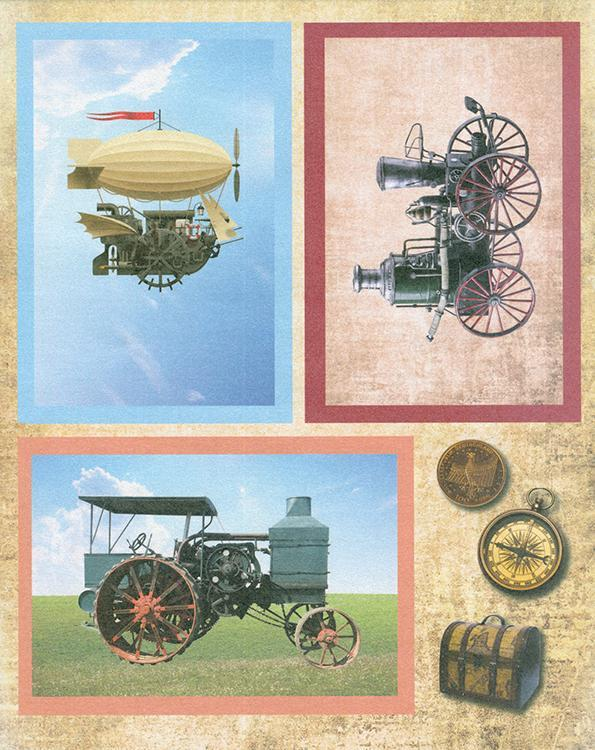3D Precut - Tractor, Steam Engine and Zeppelin - 2 sheets