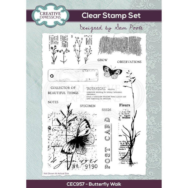 Sam Poole Butterfly Walk A5 Clear Stamp Set