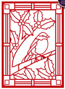 Festive Collection Stained Glass - Robin Redbreast
