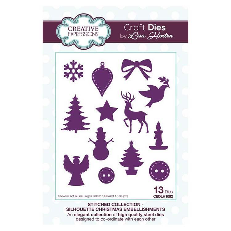 Creative Expressions Stitched Collection Silhouette Christmas Embellishments Craft Die