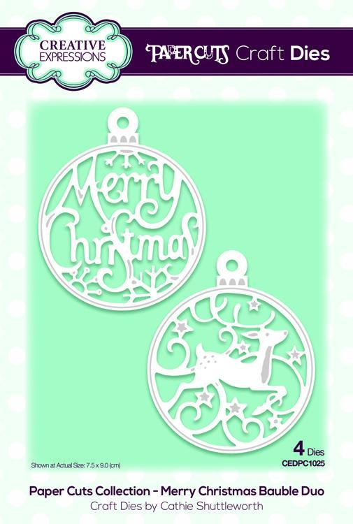 Creative Expressions Die Paper Cuts Collection - Merry Christmas Bauble Duo