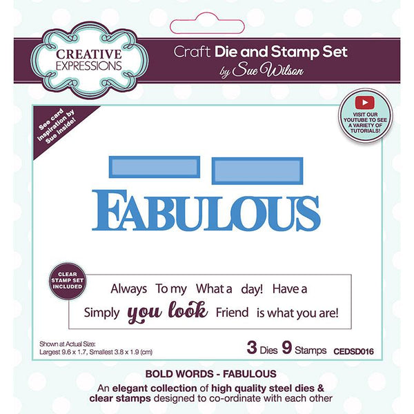 Creative Expressions Sue Wilson Fabulous Craft Die & Stamp Set