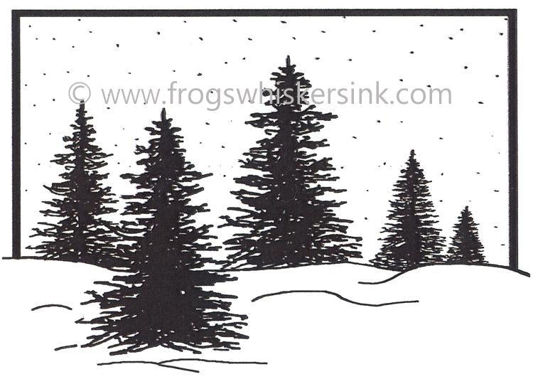 Frog's Whiskers Ink Stamps - Framed Trees