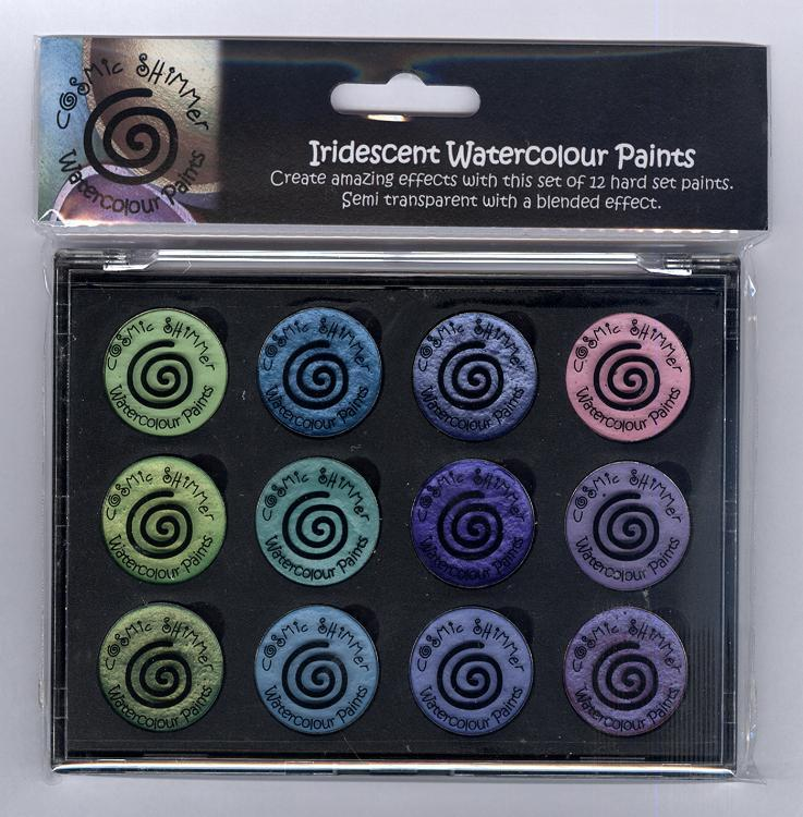 Cosmic Shimmer Iridescent Watercolour Pallet set  - Greens  & Purples